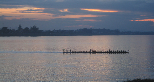 dragon boat on the Mekong